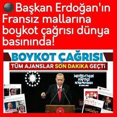"""Instagram'da Kenan Gümüş ...✒: """"⚫Başkan Erdoğan'ın Fransız mallarına boykot çağrısı dünya basınında! ⚫Hepsi son dakika geçti.. ⚫Başkan Recep Tayyip Erdoğan, müslümanları…"""""""