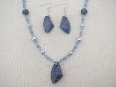 Blue Marbled Swarovski Pearl Pendant Necklace Earrings - pinned by pin4etsy.com