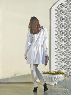 White trench coat, classic.