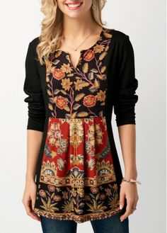 Split Neck Printed Black Long Sleeve Blouse on sale only US$30.16 now, buy cheap Split Neck Printed Black Long Sleeve Blouse at liligal.com