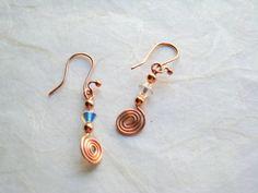 Artisan Copper and Crystal Dangel Earrings/ by DesertDabbler
