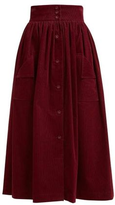 The Vampires Wife Visiting Button Front Corduroy Cotton Midi Skirt - Womens - Burgundy
