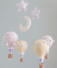 Moon and Stars Baby Mobile, Hot Air Balloon Nursery Decor, Yellow and Blue, Custom Baby Mobile, Baby Shower Gift Idea, i148 on Etsy, $150.00