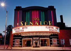 The Senator Theatre, Baltimore. The Art Deco Senator Theatre is the last single-screen theater still standing in the city. Cinema Theatre, Drive In Theater, Vintage Movie Theater, Vintage Movies, Theatre Architecture, Vintage Architecture, Retro, Photo Exhibit, Glass Brick