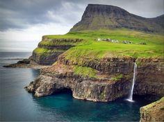 pretty waterfall.. pretty sceen.. pretty sure i wanna see! ( gasadalur village, faroe island)