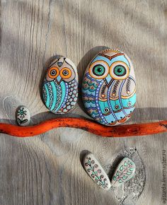 Купить Совы - панно для яркого интерьера - разноцветный, сова, камень, роспись, дудлинг, подарок, сувенир