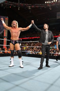And so was Ziggler. | Aaron Paul Drove A Mustang Into The Arena Of WWE Monday Night Raw Last Night