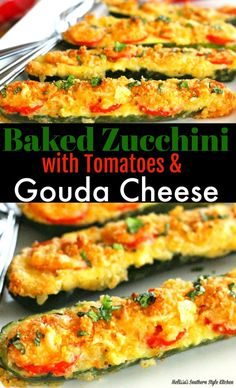 Baked Zucchini With Tomatoes and Gouda Cheese #zucchini #recipe #vegetarian #vegetables #Gouda #tomatoes #baked