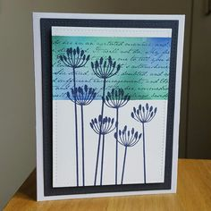 """Background blended w distress inks and stamped with My favourite things 6"""" background stamp.  Flower image from Penny black."""