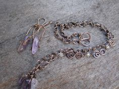 Handmade Copper Chain Necklace and Matching Earring Set, Antiqued Copper, Wire Wrapped Jewelry, Amethyst Jewelry, Stone Jewelry, Boho