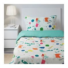 IKEA - FLICKÖGA, Quilt cover and pillowcase, , The lyocell/cotton blend absorbs…