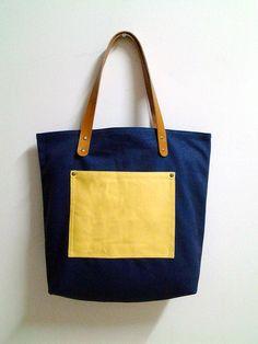 Leathinity Navy Blue Canvas Tote Bag w/ Genuine por Leathinity