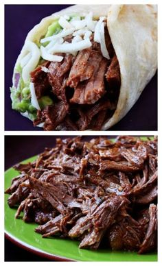 Slow Cooker Shredded Beef Tacos -- I'll take these any day over chipotle. Easy to make, full of amazing flavor, and this shredded beef is great for leftovers! gimmesomeoven.com #mexican #beef