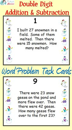 Keep your students engaged and working on math skills that really matter!  This set of winter themed task cards will have them working on double digit addition and subtraction word problems.  Includes all 12 problem types for addition and subtraction!