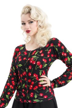 You'll look good enough to eat in our cute cherry print cardigan! Buy it online now --> http://www.claireabellascloset.co.uk/vintage/rockabilly-cardigans/product/817-voodoo-vixen-cherry-cardigan