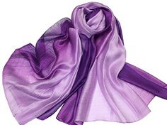 PB-SOAR Lightweight Silk Scarf Gradient Color Long Scarf Shawl Stole Wrap for Women, 14 Colors Available (Burgundy / Dark Red): Amazon.co.uk: Clothing