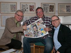 Simon, Roland and Jeremy chattoon Rowland Rivron Chattoon - handing Roland his finished cartoon Keywords: Chattoon, Rowland Rivron, Simon Ellinas Karl Pilkington, Ricky Gervais, Celebs, Cartoon, Caricatures, Times, Image, Celebrities, Caricature Drawing
