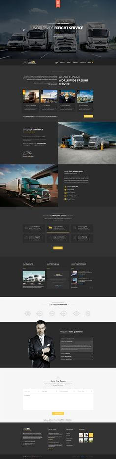 LoadMe is an Awesome Design 3 in 1 PSD template for website of #Logistic & #Transportation, #Organization. #webdesign Download Now!