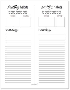 Black and White Healthy Habits Trackers for Your Planner Discbound Planner, Filofax, Printable Planner, Free Printables, 21 Day Fix Meal Plan, Journal Paper, Food Diary, Healthy Habits, Meal Planning