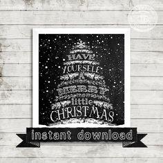 DIY PRINTABLE,  Christmas Printable, Holiday Printable, Chalkboard Printable,Merry Chritsmas, Christmas, Holiday, Chalkboard Christmas Tree