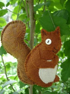 Hand-Stitched Fall or Christmas Squirrel Ornament - Free Shipping. $15.00, via Etsy.