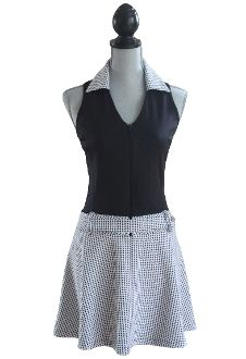 Love this classic black with black/white houndstooth #golf dress.