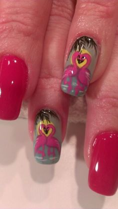 Pink flamingos nail art