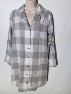 Jenni New Sleep Shirt Gown Gray Checked Boyfriend Shirt by Jennifer Moore Small #JennibyJenniferMoore #Sleepshirt