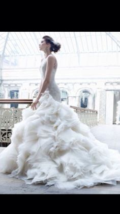 Bridal Drop Waist Ball Gown by Lazaro