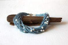 Pearl  blue linen necklace / June birthstone necklace от dekkoline