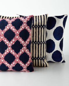 Perky Pillows! By John Robshaw Blue Moon Pillow a Collection Designer Fashion Decor Living-room Home Navy Blue Sofa Pattern Polkadots Accessories  neimanmarcus.com