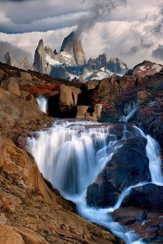 Waterfall Mountain - Monte Fitz Roy, Argentina