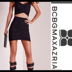 NWT• BCBGMAXAZRIA • Bandage Short Skirt With elastic waist, this BCBGMAXAZRIA skirt is destined to become your new favorite collection. Flat elastic waistband. 90% rayon, 9% nylon, 1% spandex. BCBGMaxAzria Skirts Mini