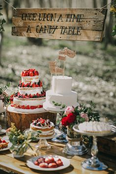 Dessert table - Image by Pablo Laguia - Otaduy Wedding Dresses For A Rustic Outdoor Wedding Inspiration Shoot In Spain From Photographer Pablo Laguía And Wedding Planner Paloma Cruz