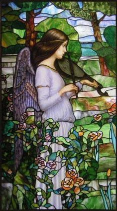 Violin playing stained glass... #StainedGlassChurch #StainedGlasses