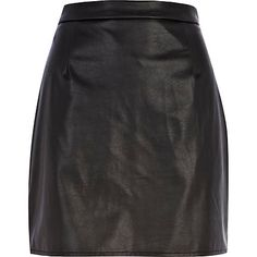 Black leather-look A-line skirt River Island