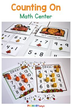 Use the counting on math centers in kindergarten and first grade to help children use addition efficiently. Kids will have fun practicing addition with these fun activities and games as the practice counting on from a given number to add. Addition Games, Addition And Subtraction, Math Stations, Math Centers, 1st Grade Math, First Grade, Mental Math Strategies, Math Numbers, Guided Math
