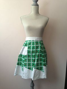 Vintage Apron Green and White with Cherries Retro Cool Bright Colors