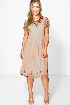 Daisy Embroidered Sequin Midi Dress nude