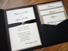 Glamorous Pocket Wedding Invitation in Eggplant by decadentdesigns, $5.25