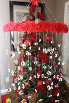 Crystal Baby Mobile Red Baby Mobile Flower Baby by TheMobileMaven, $80.00