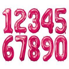 Folien Ballone - Zahlen pink von 0 bis 9 Cookie Cutters, Pink, Grown Up Parties, Birthday, Pink Hair, Roses