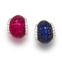 A pair of ruby, sapphire and diamond earclips, Sabbadini