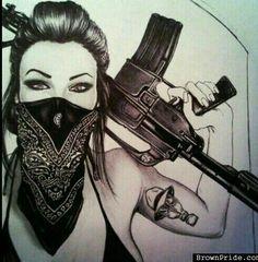 Gangsta girl gas mask and all)) Gangsta Tattoos, Chicano Tattoos, Body Art Tattoos, Girl Tattoos, Tatoos, Arte Dope, Dope Art, Catrina Tattoo, Cholo Art