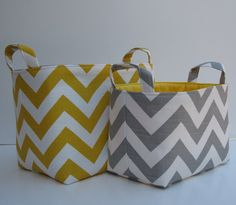 grey and yellow chevron baskets