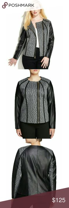 New! CALVIN KLEIN Plus Size Faux Leather Jacket Calvin Klein's plus size ultra-chic jacket offers sophisticated styling with an edge, thanks to faux-leather accents and an asymmetrical zip closure.  * Brand New With Tags   * Gold-tone asymmetrical zip-front closure  * Faux leather sleeves, back and trim  * Allover?spacedye?pattern  * Long sleeves; faux-leather panels at sleeves  * Collarless. No pockets  * Lined  * Approx. 25 inches  * Rayon/spandex; faux-leather trim: polyurethane; lining…