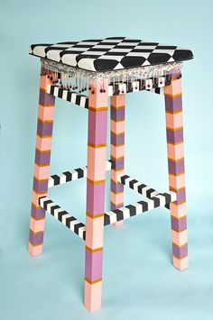 Wooden redesigned bar stool handpainted by ReVampedbyTheodore, $500.00