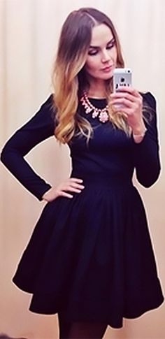 On Thin Ice Dark Blue Long Sleeve Scoop Neck Puff Shoulder Skater Circle A Line Flare Mini Dress