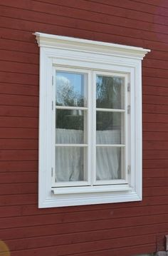 More window trim. Swedish Cottage, Swedish House, House Trim, House Siding, House Windows, Windows And Doors, Norwegian House, Country Home Exteriors, Pacific Homes