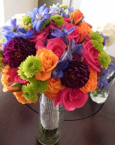 purple and green candy buffet | blue, pink, purple, orange, green wedding bouquet